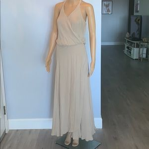 Haute Hippie 100% silk maxi dress in nude